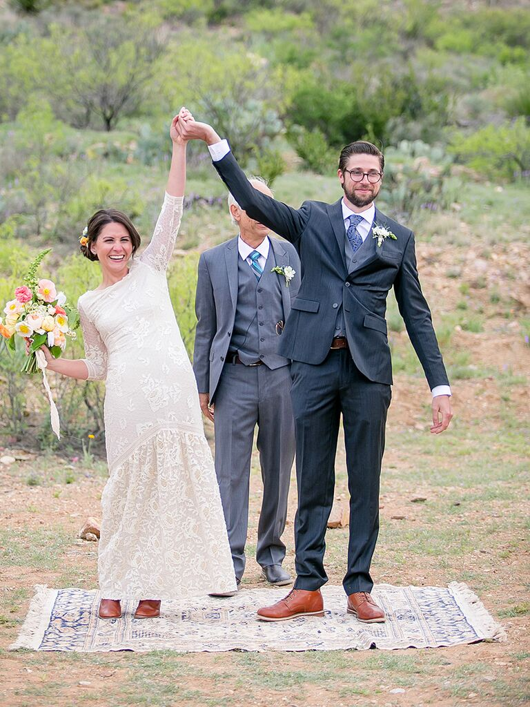 Unique ceremony idea: Getting married on a rug that can be used in your home afterward