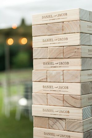 Custom Jenga During Reception at Anthony Chapel in Hot Springs, Arkansas