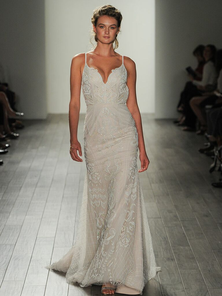 824459860b5d Hayley Paige Fall/Winter 2017 spaghetti strap deep V-neck sheath wedding  dress with