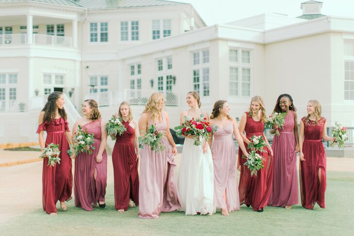 Bridal Party Dresses in Various Shades of Pink and Red