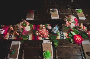 Mexican Blanket Table Runner and Homemade Pinatas