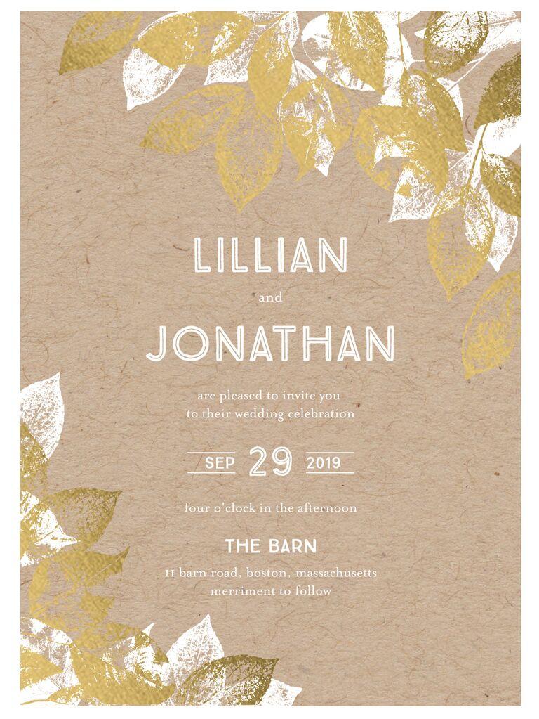 Stamped foliage fall wedding invitation