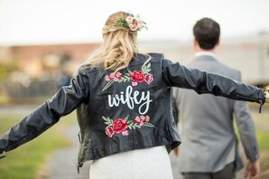 Personalized Leather Jacket with Rose Appliques