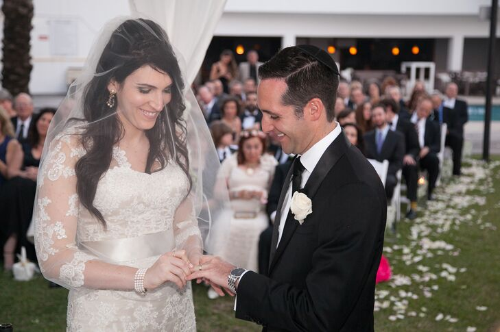 Yoni and Shira exchanged a diamond and a two-tone wedding band during their ceremony.
