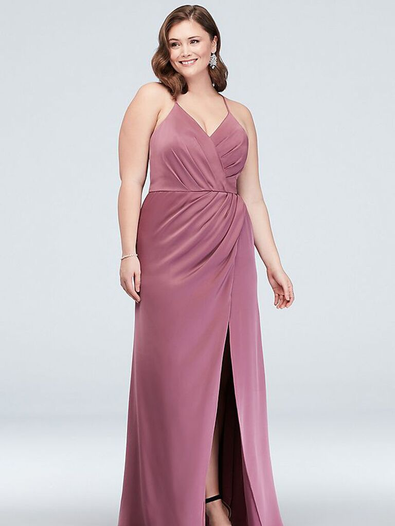 Long affordable plus size bridesmaid dress