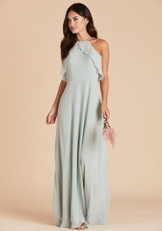 Birdy Grey Jules Chiffon Dress in Sage Halter Bridesmaid Dress