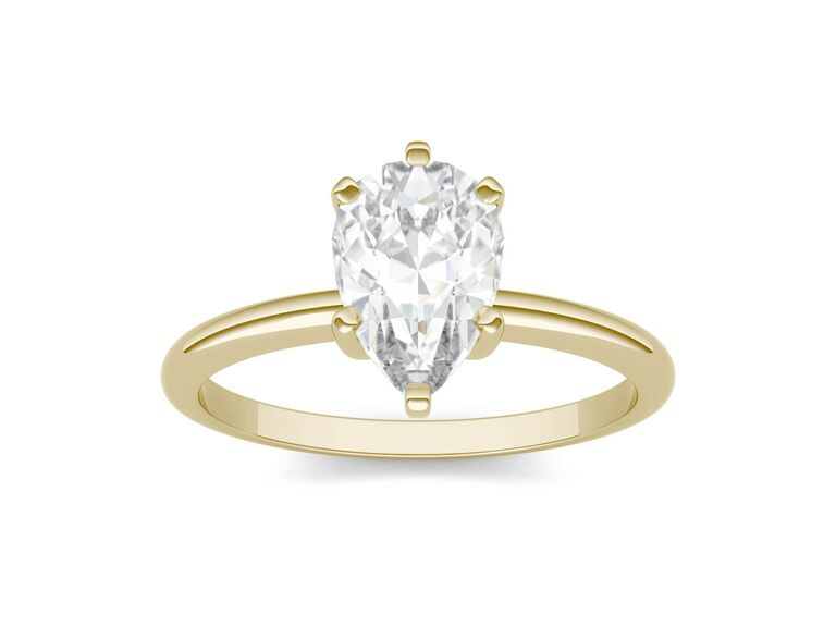 Charles & Colvard solitaire pear colorless moissanite engagement ring in 14K yellow gold