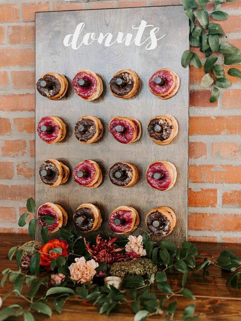Rustic wedding donut wall