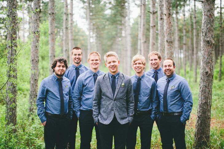 Brent wanted his groomsmen to be able to reuse their wedding attire for other occasions like work or a night out, so he chose simple pants and shirts from GAP. Bonus: They paid under $70 for their looks.
