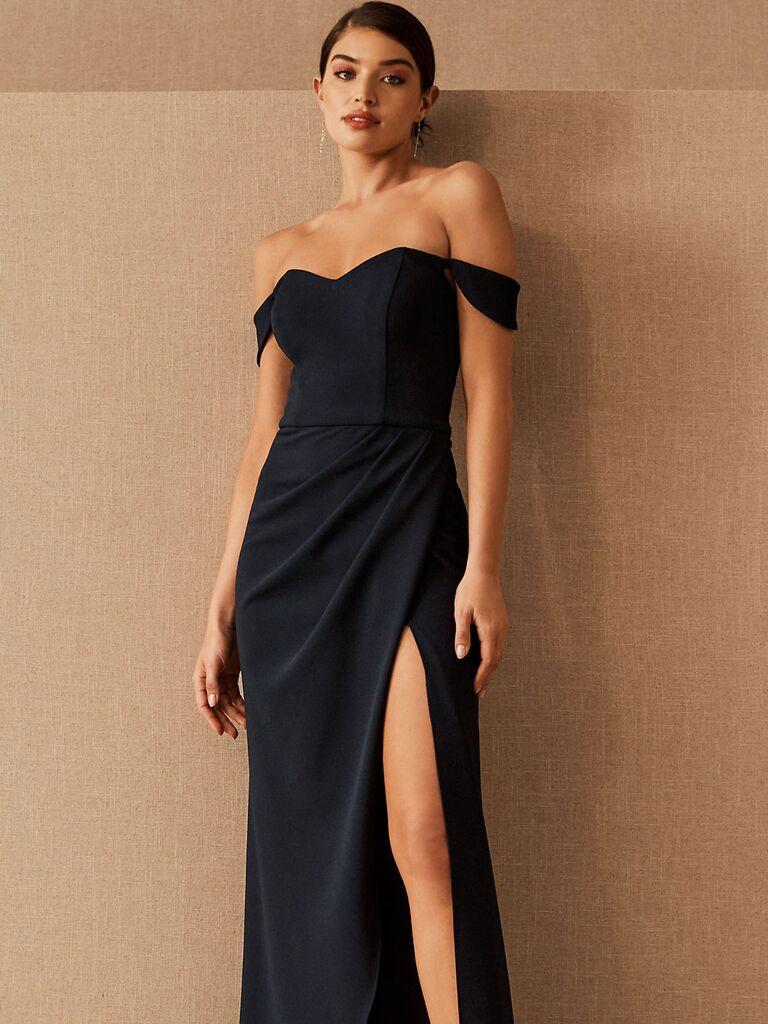 bhldn black maxi winter bridesmaid dress