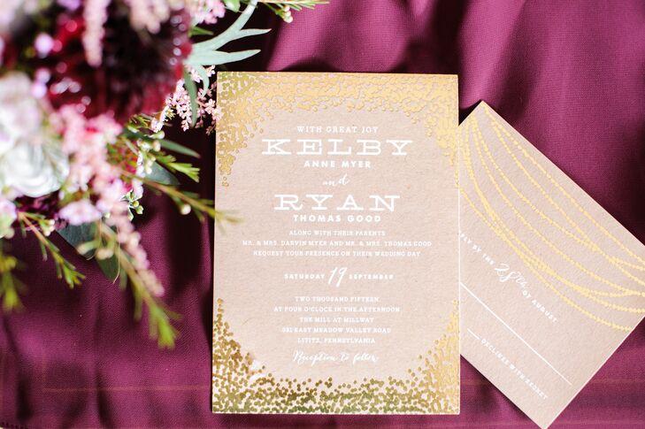 Gold Confetti Wedding Invitation