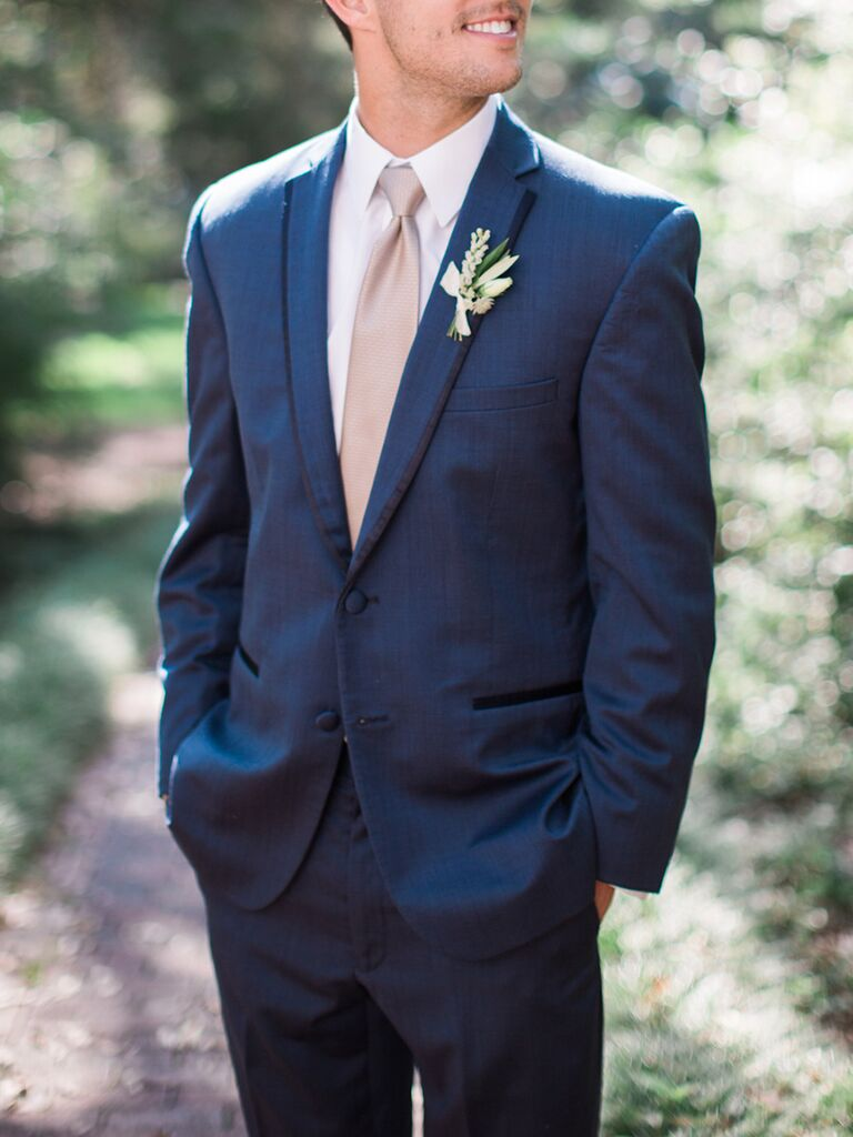 Groom With Blue Tie And Boutineer