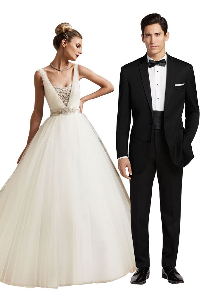Formal Ballroom Wedding Dress And Tuxedo