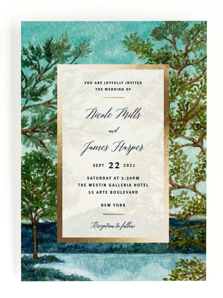 Nature rustic wedding invitation