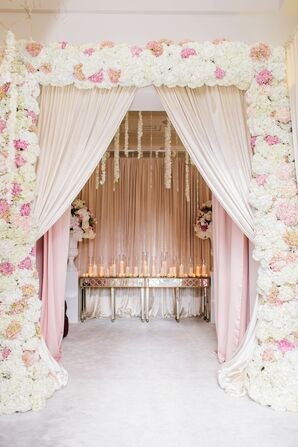 Entrance with Flowers and Pink Draping
