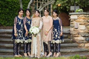 Glam Navy and Gold Pakistani Bridesmaid Outfits