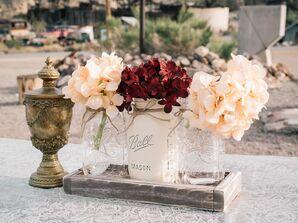 Hydrangea Mason Jar and Gold Antique Centerpieces