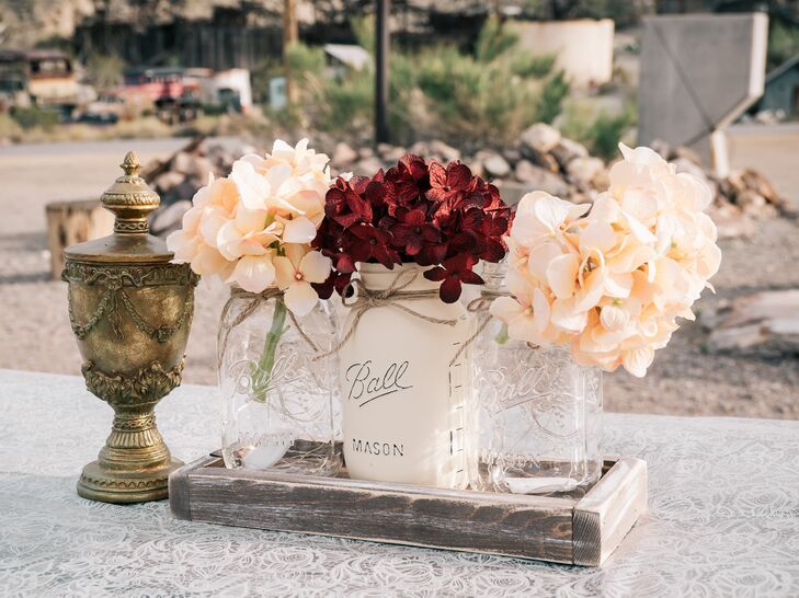Hydrangea Mason Jar and Gold Antique Centerpieces