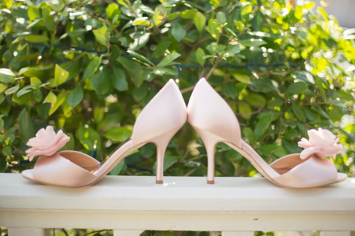 These bridal heels were perfect for Alexandra's romantic Valentine's Day wedding, and the flower added a cute feminine touch.