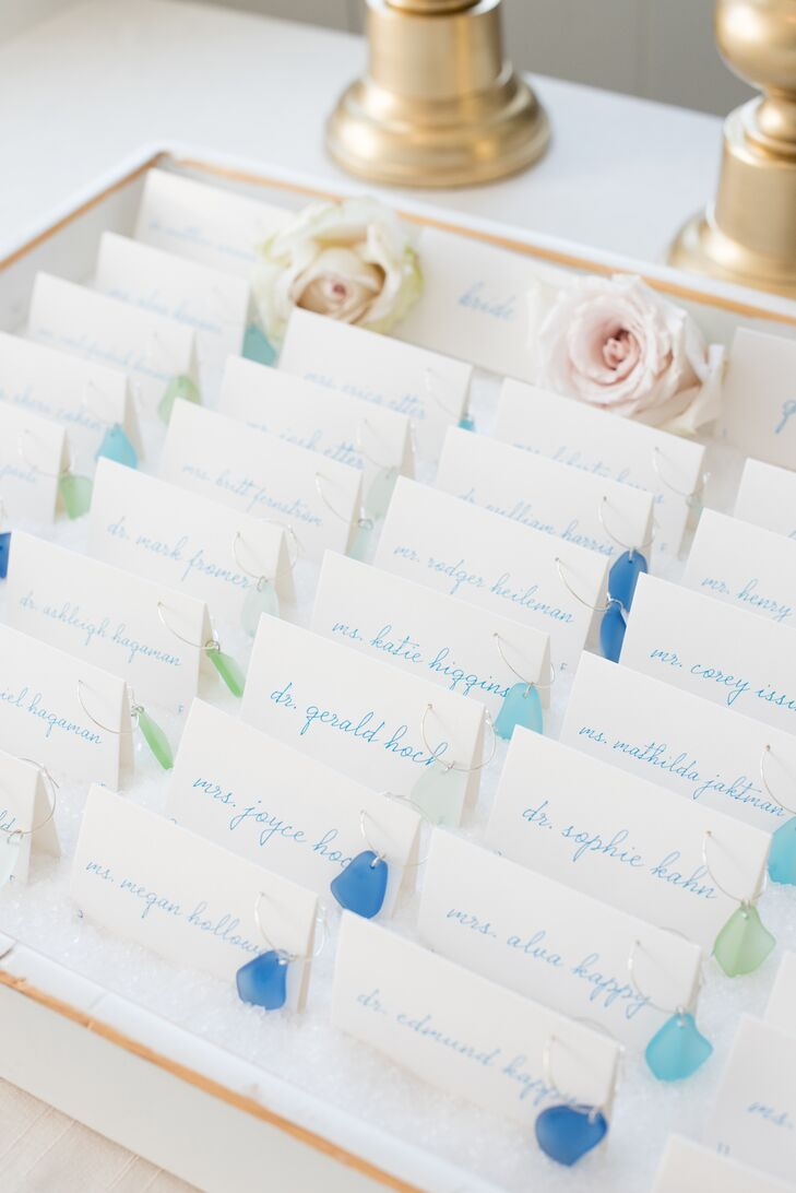 Place Cards with Sea Glass Wine Charms