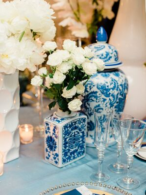 Ivory Roses in Chinoiserie Vase