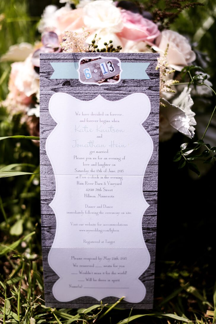 Katie and Jon wanted all the stationery to set the tone for the day. The ceremony programs were made to look like they were printed on wood, to reflect the country theme.