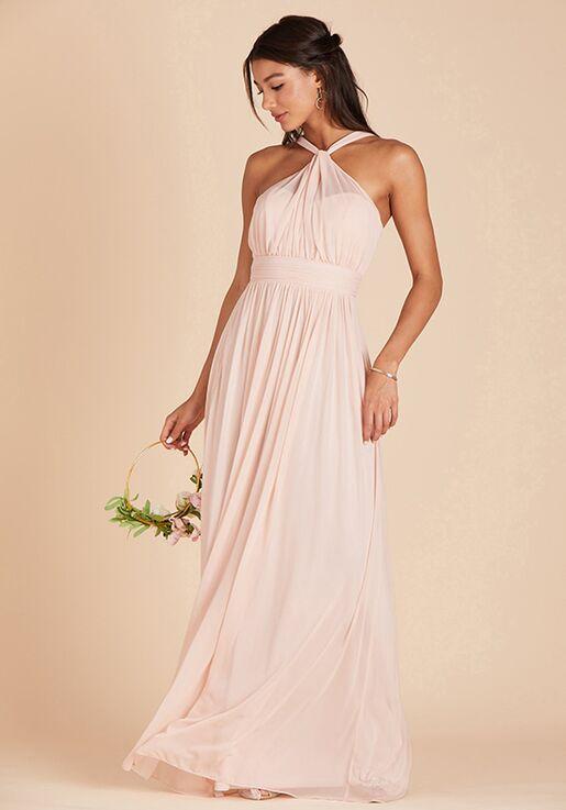 Birdy Grey Kiko Mesh Dress in Pale Blush Halter Bridesmaid Dress