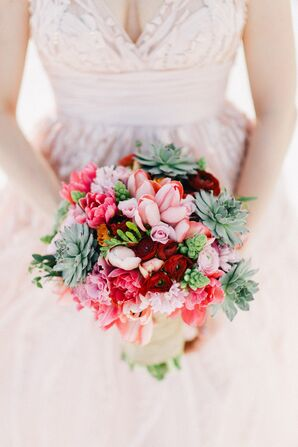 Pink, Red and Succulent Beach Bouquet