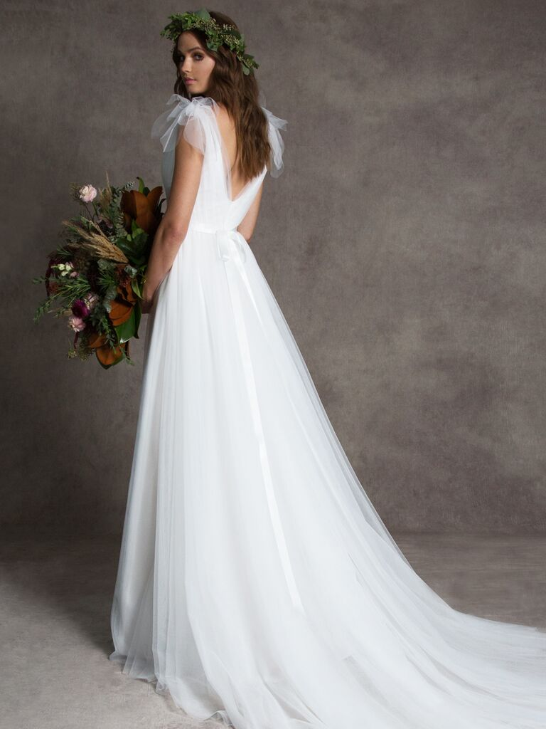 Romona New York Fall 2019 wedding dress with tulle train and flutter sleeves