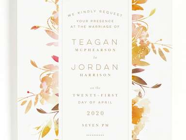 Minted floral orange spring wedding invitation