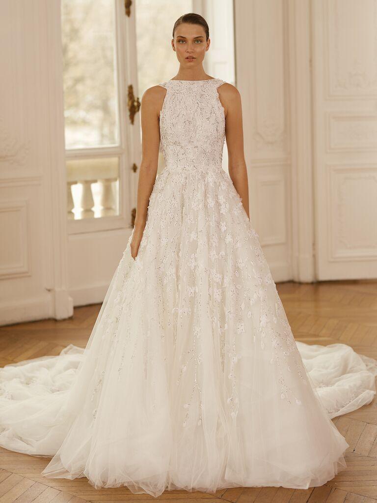 Dana Harel Spring 2020 Bridal Collection embellished high-neck A-line wedding dress