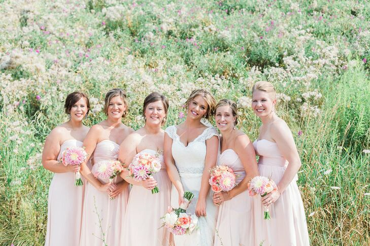 Soft Pink, Strapless Bridesmaid Dresses