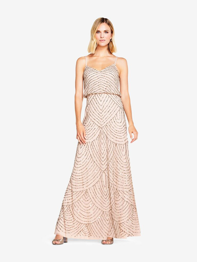 Taupe pink sequin beaded spaghetti strap art deco gown