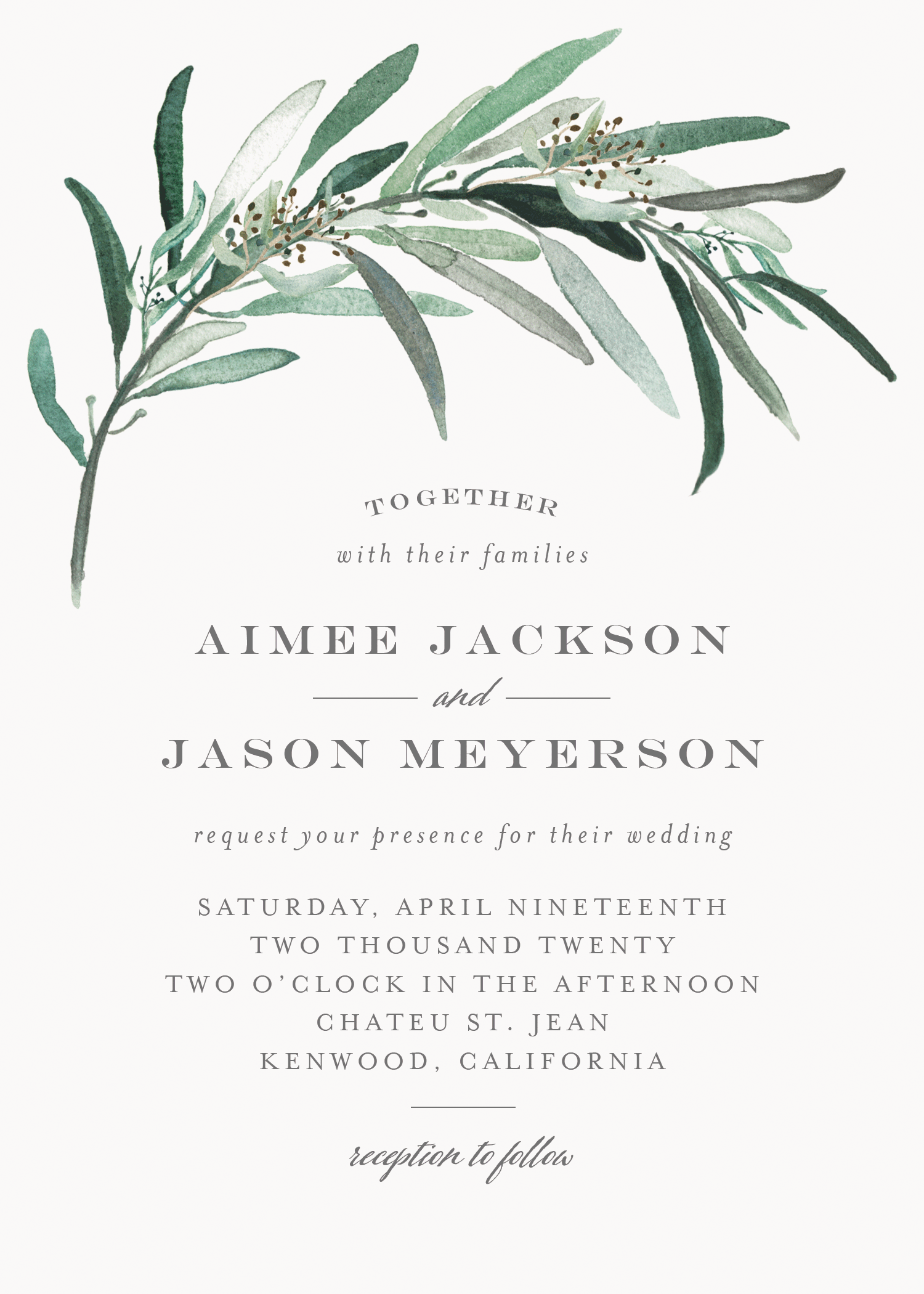 Customizable wedding invitation featuring a eucalyptus branch arching over your names and wedding details in modern fonts.
