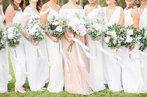 Playful, White Bridesmaid Dresses