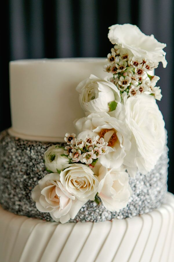 White Floral Cascade on Glam Wedding Cake