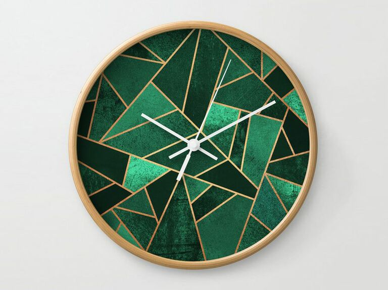 Emerald green clock 16th anniversary gift