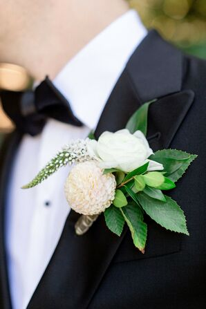Formal White Boutonniere with Leaves