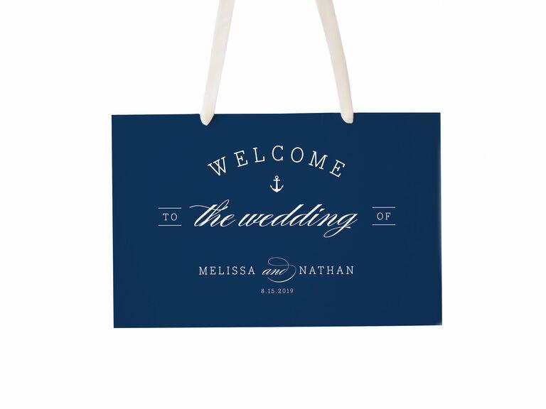 Hanging nautical wedding welcome sign