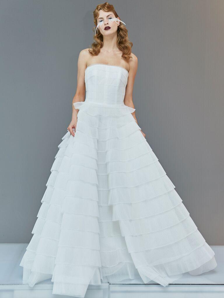 Francesca Miranda Spring 2020 Bridal Collection strapless tiered A-line wedding dress