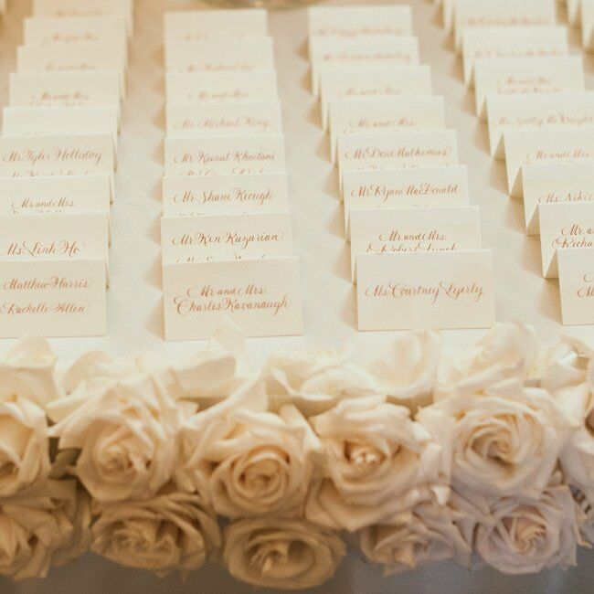 The names of each guest and their seating assignment were hand-calligraphed in rose gold ink on each escort card.