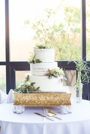 Eucalyptus-Accented Naked Cake on Gold Stand