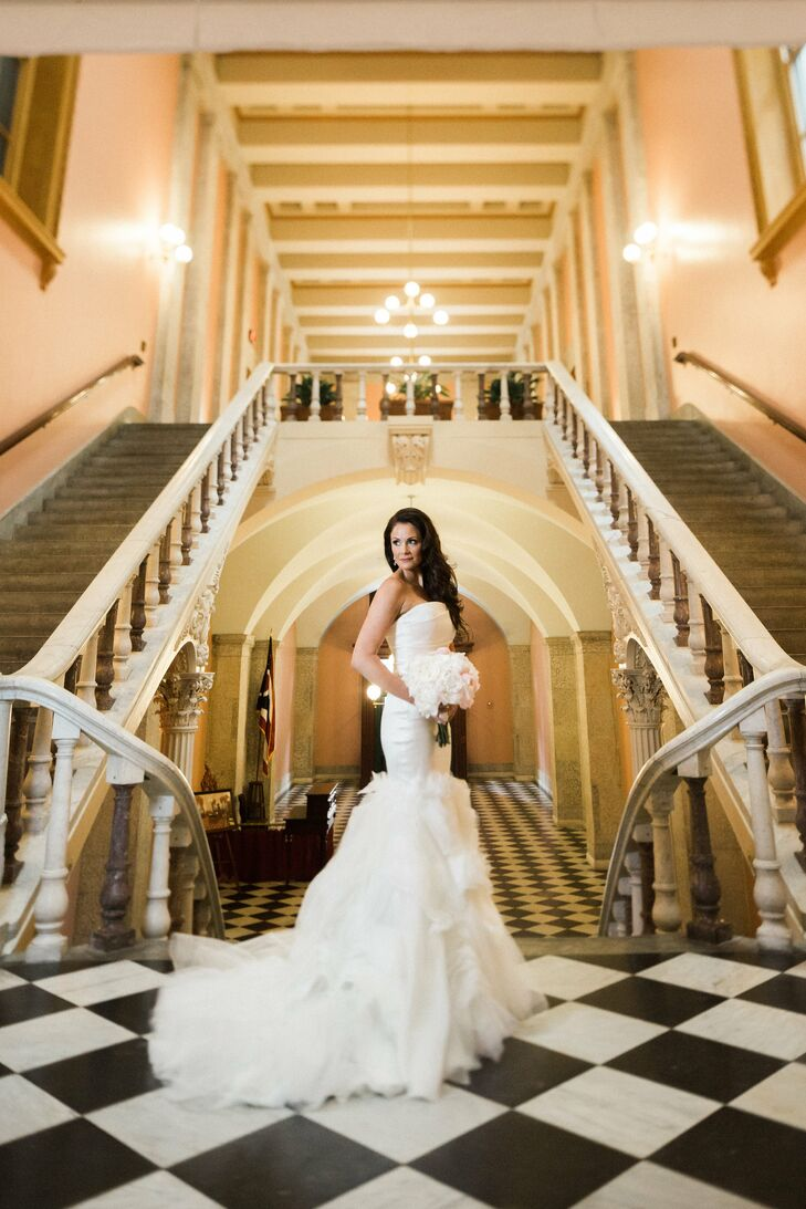 """""""The overall look needed to make a statement, and nothing says bride quite like Vera Wang,"""" Rachel says. Her mermaid-style gown featured a hand-draped bodice and inverted flange skirt. She accessorized it with a horsehair cathedral-length veil."""