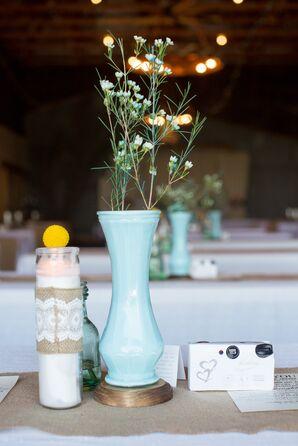 Vintage-Inspired Blue Vase Centerpieces