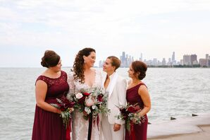 Burgundy Bridesmaid Dresses and Coordinating Bouquets