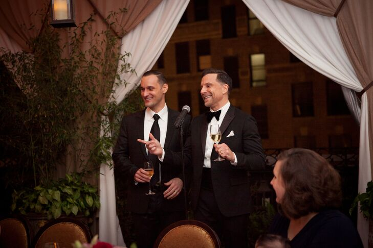 The reception took place on the NoMad Hotel's rooftop terrace, where the newlyweds and their guests took in the views spectacular views of the New York City skyline while dining on delicious offerings like poularde and black truffle in romantic candlelight.