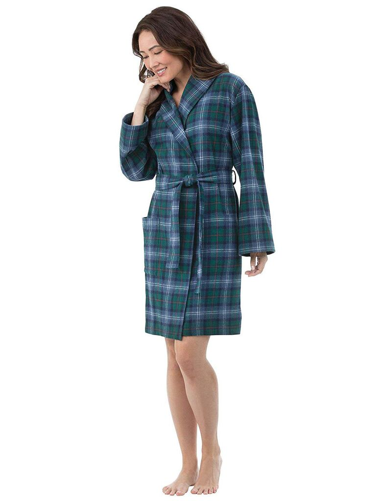 Green flannel bridesmaid robe