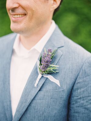 Rustic Lavender and Rosemary Boutonniere