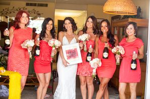 Short, Coral Bridesmaid Dresses in Different Styles