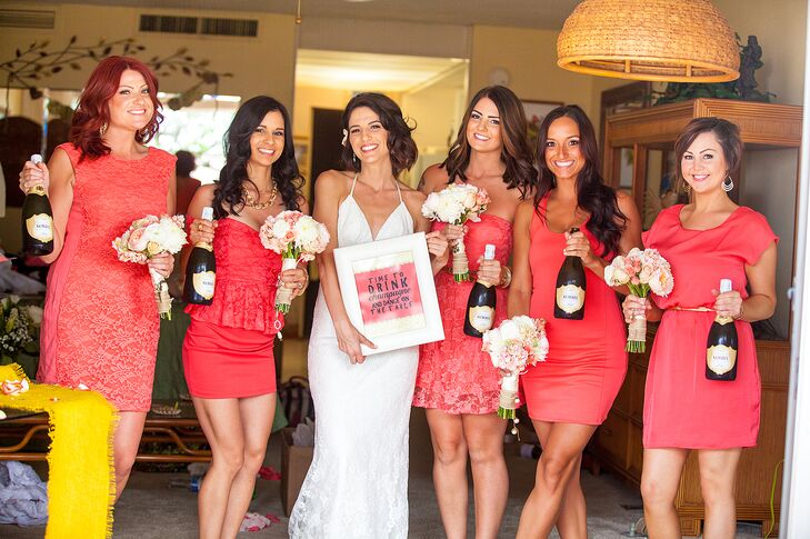 """""""We all went shopping together for the bridesmaid dresses, which we kept simple,"""" Veronica says. """"We set out for a coral-color summer dress, and each of them had their own unique style to it. It all came together perfectly!"""""""